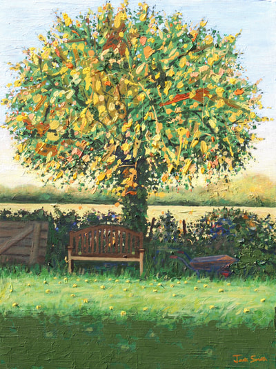 The apple tree, acrylic on  canvas painting by Jack Smith.