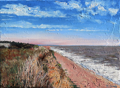 Dunwich cliffs impasto oil painting by Jack Smith.