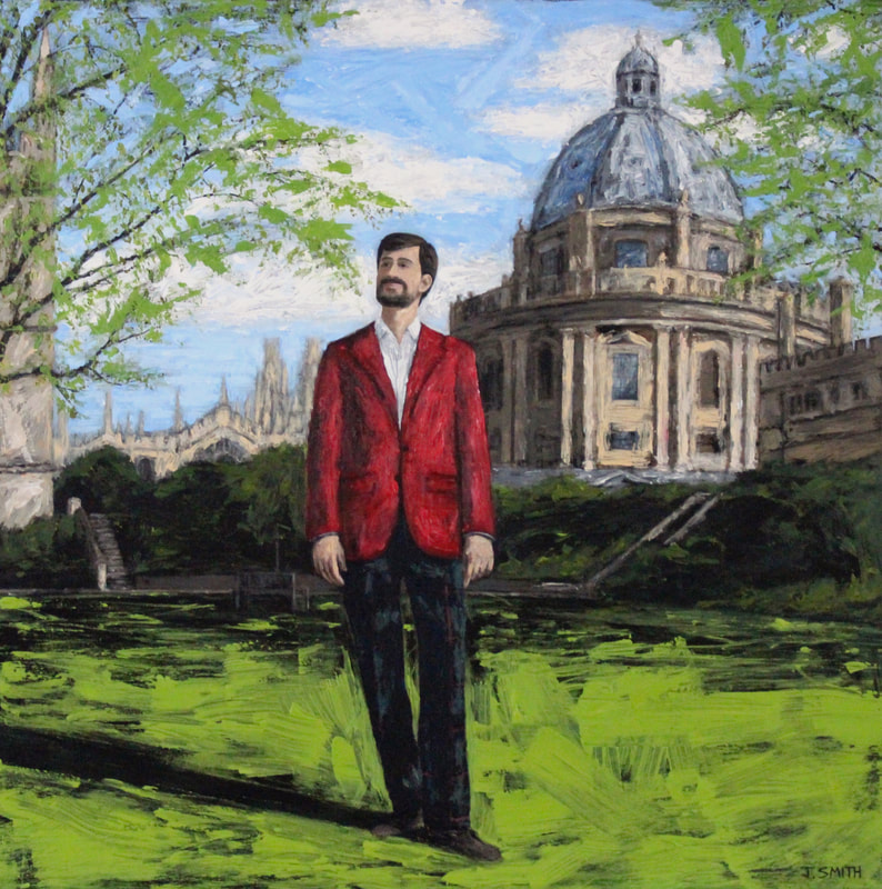 Portrait of Jean- Charles at Exeter College garden, with Radcliffe Camera in the background. Acrylic on canvas. Painting by Oxford artist, Jack Smith