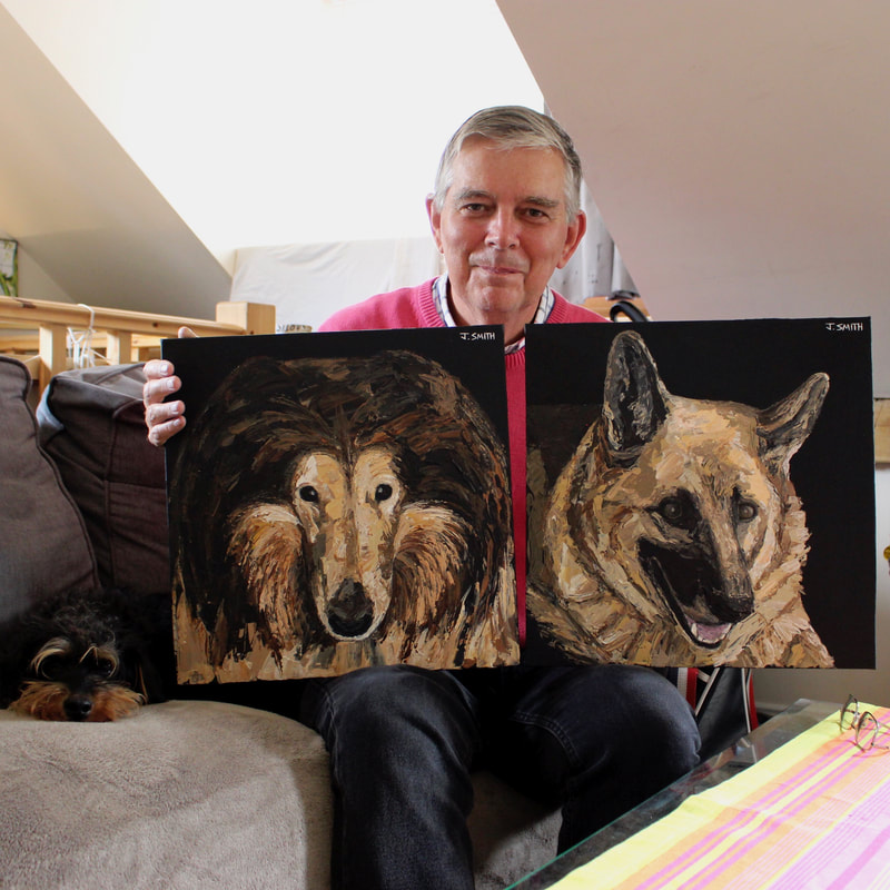 Peter Gee with his pet portraits by artist, Jack Smith.