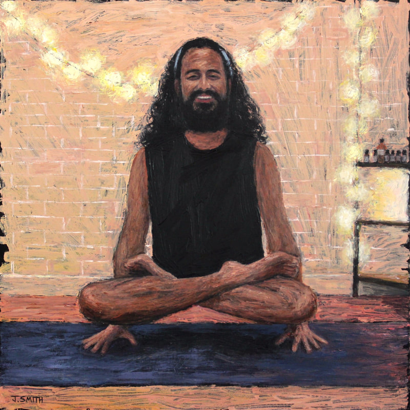 Portrait of queer yoga instructor, Simran at Yoga Quota Oxford. Acrylic on canvas, 2019. Painting by Jack Smith.
