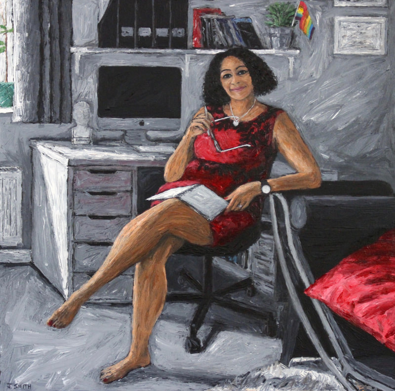 Portrait of Zayna Ratty, Chair of Oxford LGBTQ Pride. Painting by Jack Smith artist
